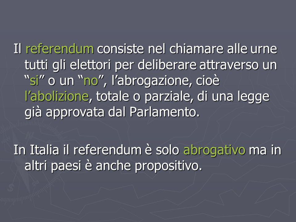 """Il referendum consiste nel chiamare alle urne tutti gli elettori per deliberare attraverso un """"si"""" o un """"no"""", l'abrogazione, cioè l'abolizione, totale"""