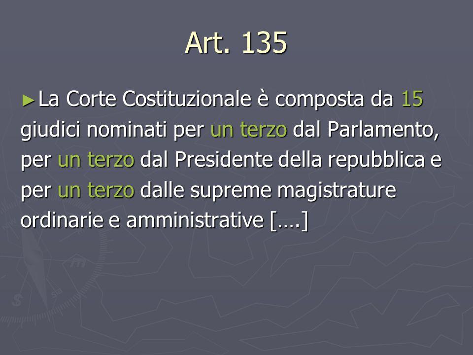 Art. 135 ► La Corte Costituzionale è composta da 15 giudici nominati per un terzo dal Parlamento, per un terzo dal Presidente della repubblica e per u
