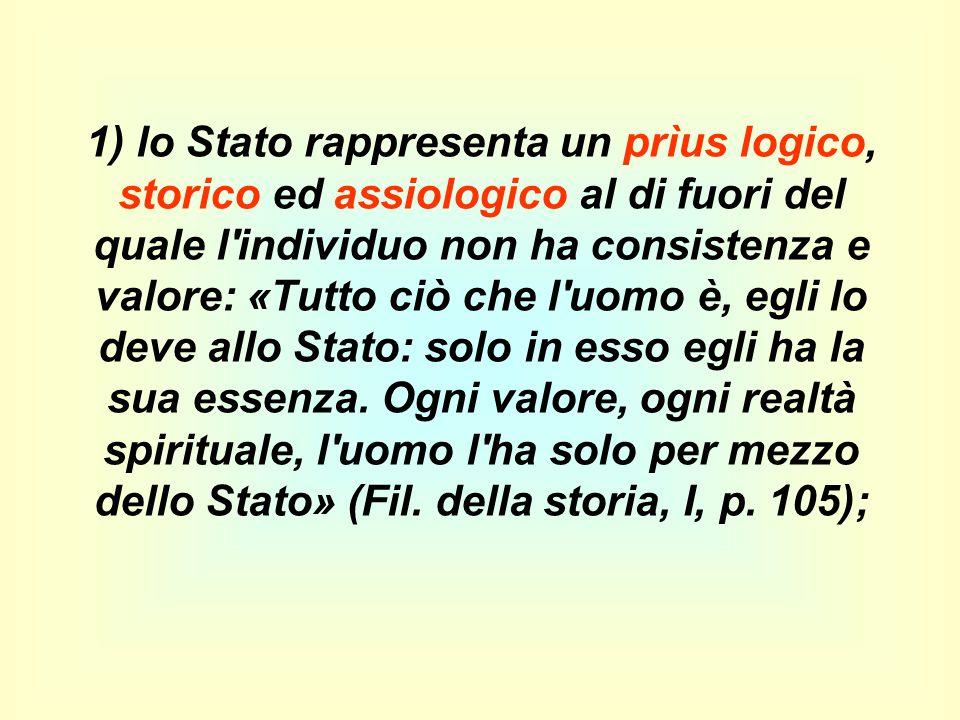 1) lo Stato rappresenta un prìus logico, storico ed assiologico al di fuori del quale l'individuo non ha consistenza e valore: «Tutto ciò che l'uomo è