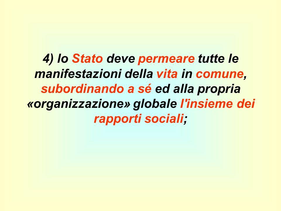 4) lo Stato deve permeare tutte le manifestazioni della vita in comune, subordinando a sé ed alla propria «organizzazione» globale l'insieme dei rappo