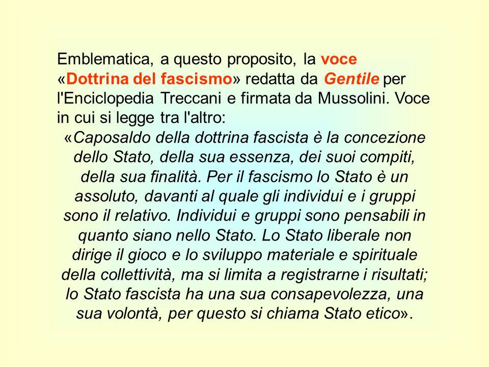 Emblematica, a questo proposito, la voce «Dottrina del fascismo» redatta da Gentile per l'Enciclopedia Treccani e firmata da Mussolini. Voce in cui si