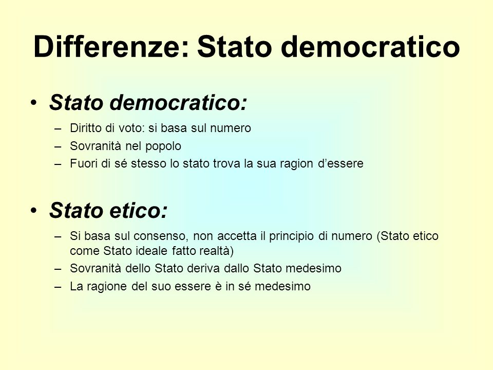 Differenze: Stato democratico Stato democratico: –Diritto di voto: si basa sul numero –Sovranità nel popolo –Fuori di sé stesso lo stato trova la sua