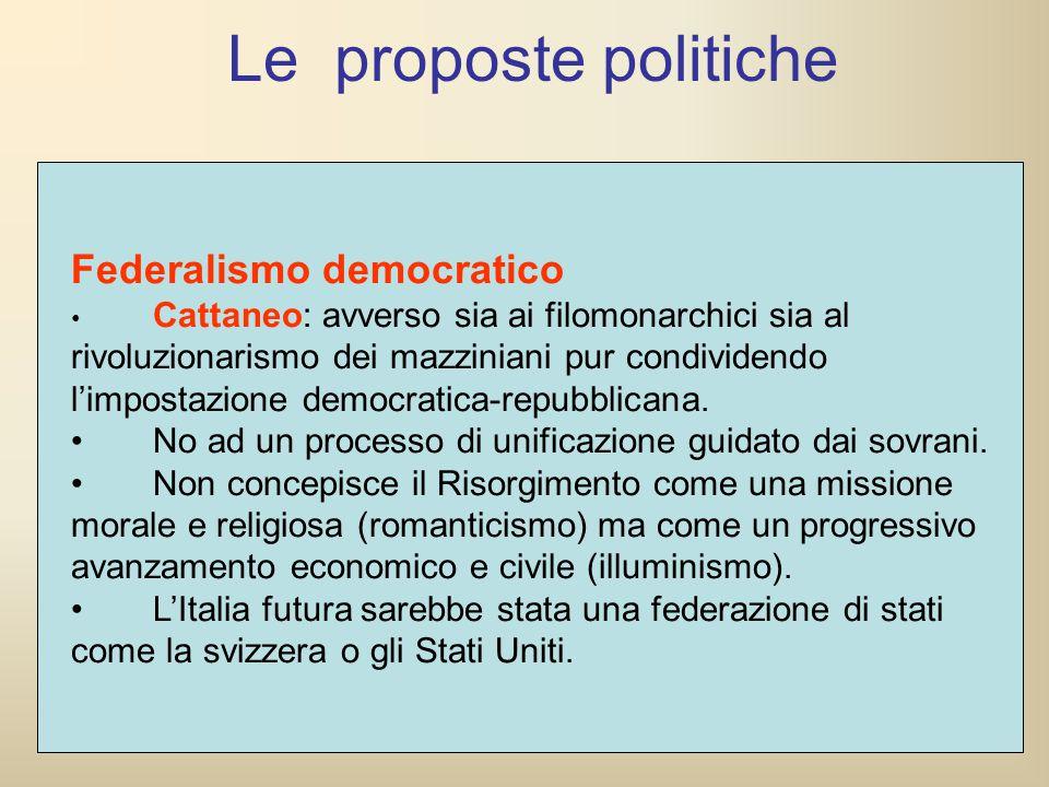 Federalismo democratico Cattaneo: avverso sia ai filomonarchici sia al rivoluzionarismo dei mazziniani pur condividendo l'impostazione democratica-rep