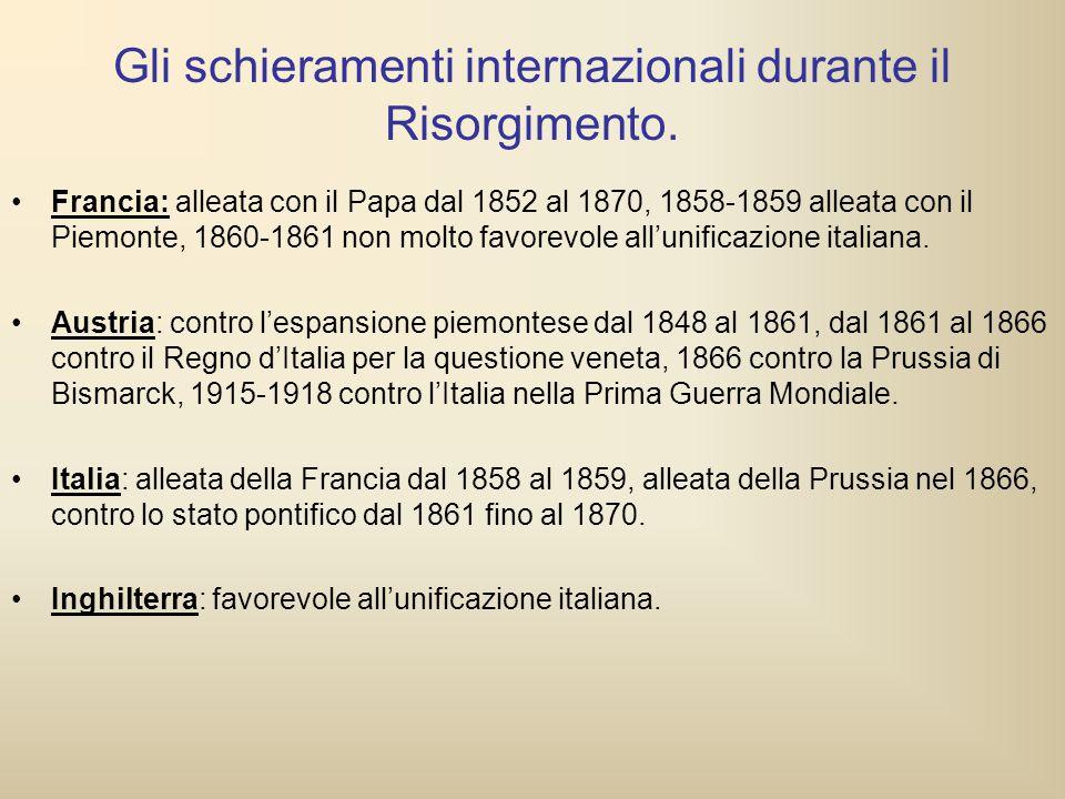 Gli schieramenti internazionali durante il Risorgimento. Francia: alleata con il Papa dal 1852 al 1870, 1858-1859 alleata con il Piemonte, 1860-1861 n