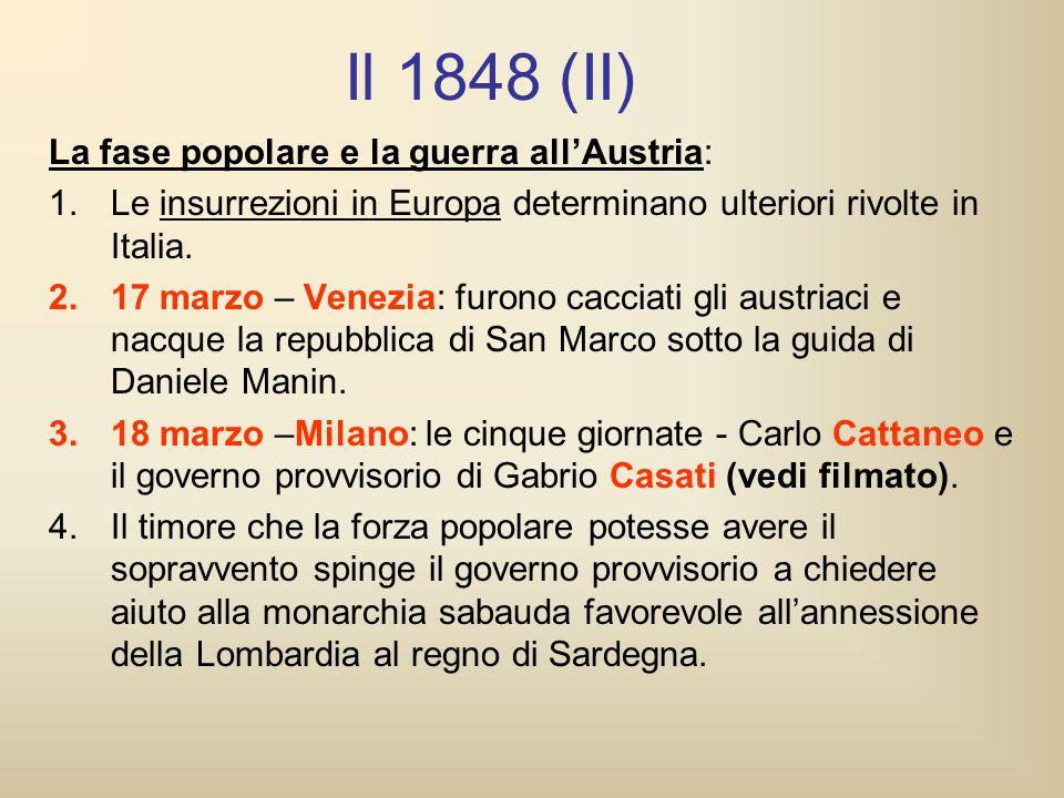 Il 1848 (II) La fase popolare e la guerra all'Austria: 1.Le insurrezioni in Europa determinano ulteriori rivolte in Italia. 2.17 marzo – Venezia: furo