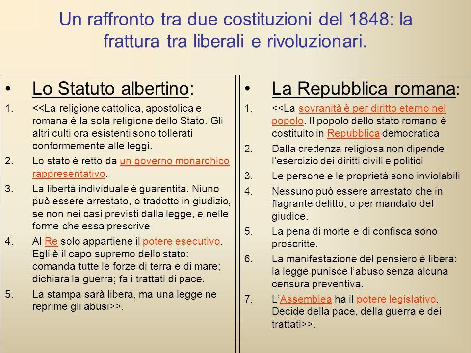 Un raffronto tra due costituzioni del 1848: la frattura tra liberali e rivoluzionari. Lo Statuto albertino: 1.<<La religione cattolica, apostolica e r