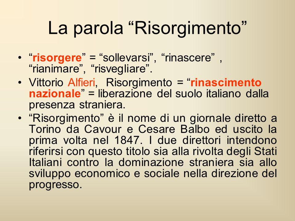 """La parola """"Risorgimento"""" """"risorgere"""" = """"sollevarsi"""", """"rinascere"""", """"rianimare"""", """"risvegliare"""". Vittorio Alfieri, Risorgimento = """"rinascimento nazionale"""