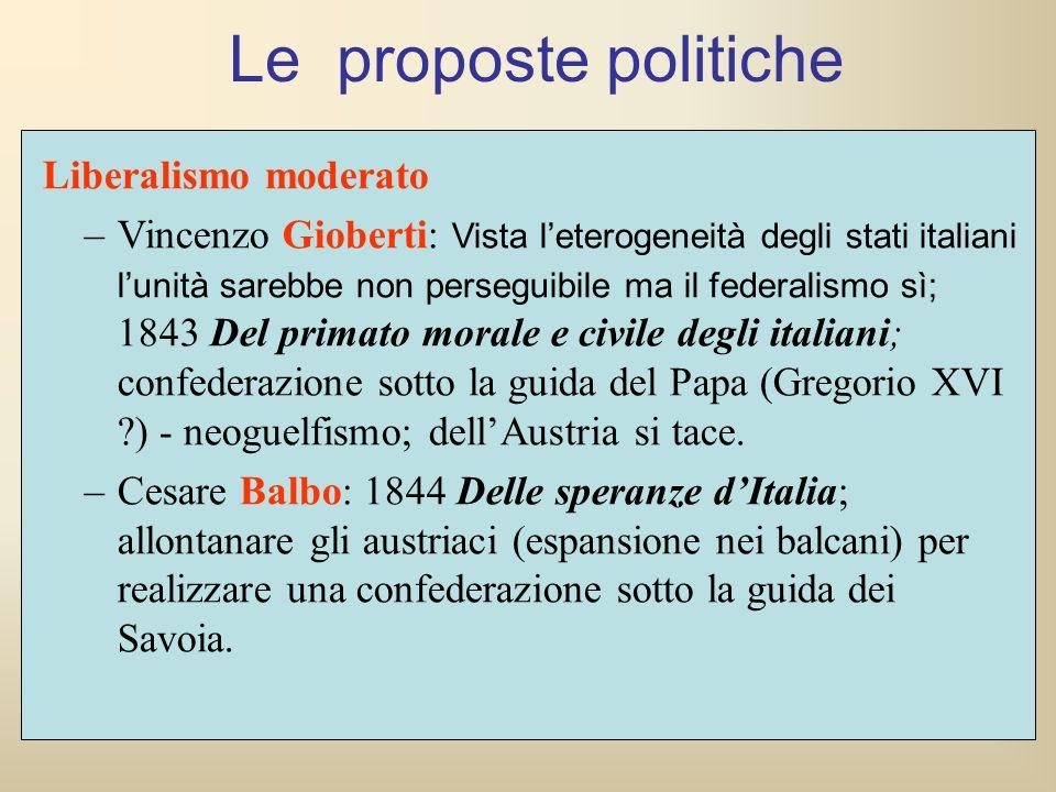 Liberalismo moderato –Vincenzo Gioberti: Vista l'eterogeneità degli stati italiani l'unità sarebbe non perseguibile ma il federalismo sì; 1843 Del pri