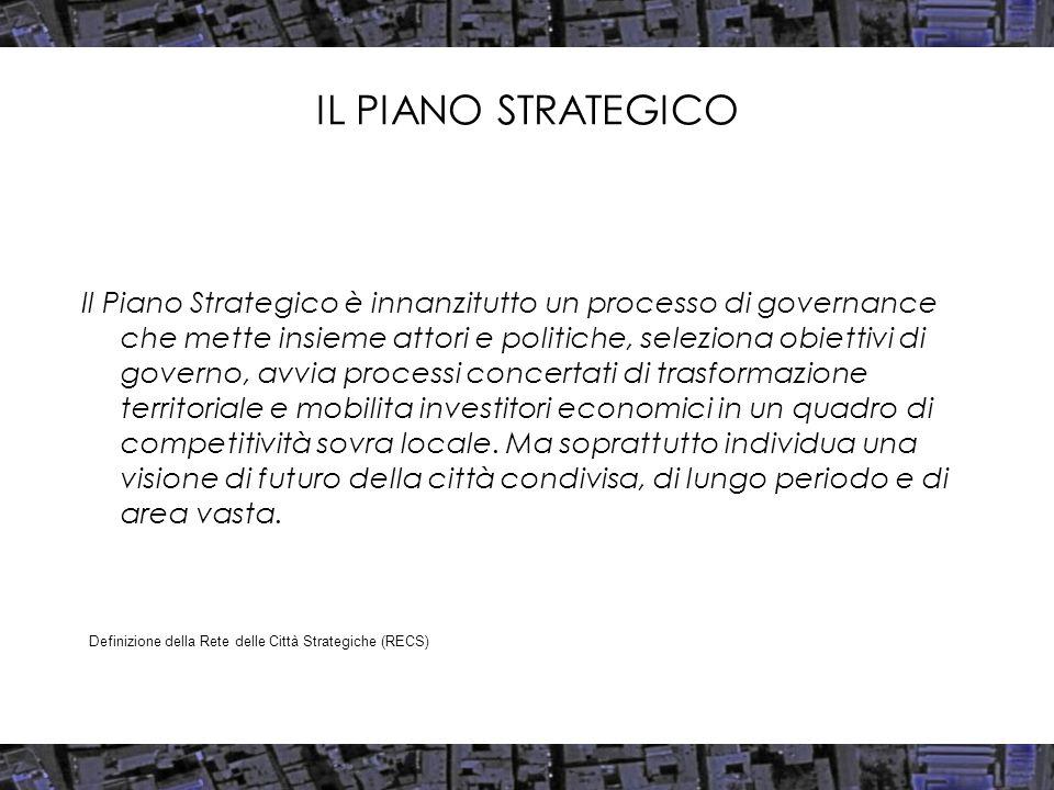 IL PIANO STRATEGICO Il Piano Strategico è innanzitutto un processo di governance che mette insieme attori e politiche, seleziona obiettivi di governo, avvia processi concertati di trasformazione territoriale e mobilita investitori economici in un quadro di competitività sovra locale.