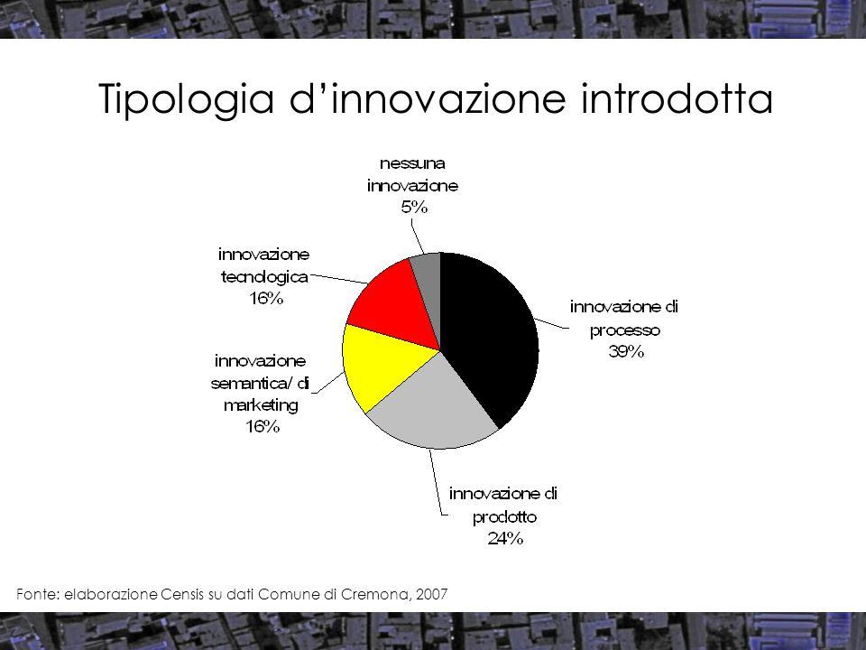 Tipologia d'innovazione introdotta Fonte: elaborazione Censis su dati Comune di Cremona, 2007