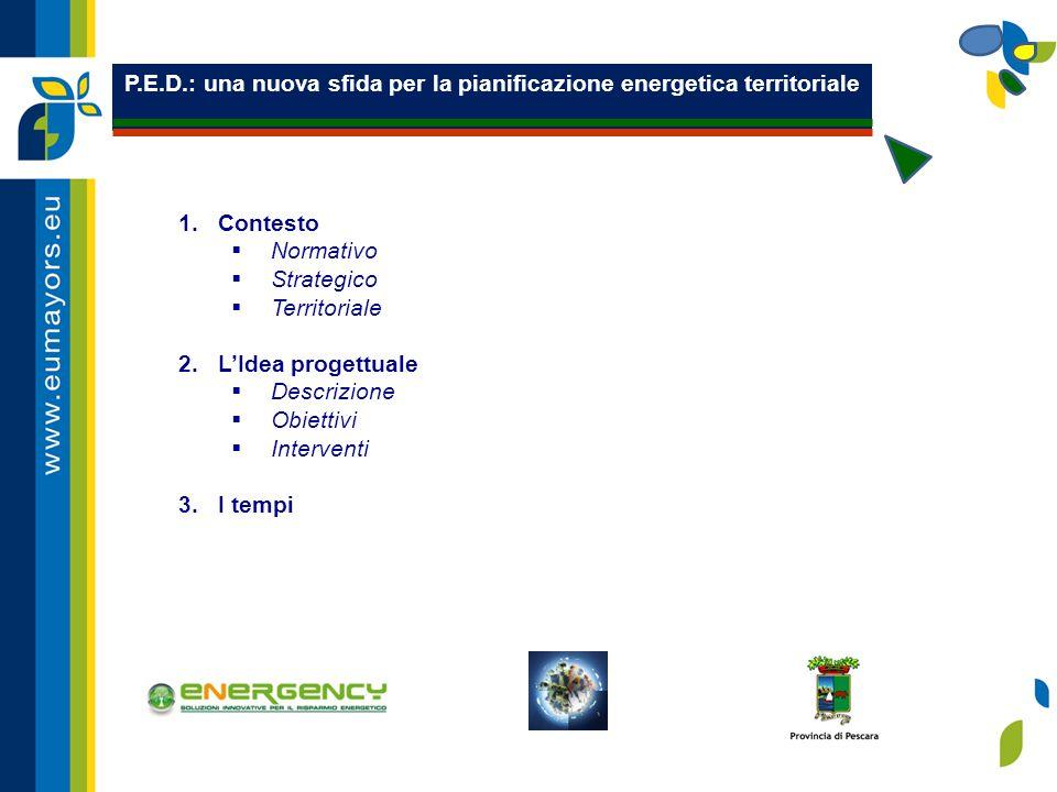P.E.D.: Il contesto normativo  POR FESR 2007/2013: Poli di innovazione, Centri di Ricerca, innovazione, Aree montane, Programmi Integrati Territoriali;  POR FSE 2007/2013: misure per la formazione del capitale umano;  PIANO DI SVILUPPO RURALE: misure di sostegno delle aree interne,  PAR FAS 2007/2013, MISURA I.2.3: rafforzare e sostenere la governance territoriale e lo sviluppo dei sistemi produttivi locali attraverso azioni di sistema e fornitura di servizi avanzati volti a promuovere lo sviluppo territoriale di filiere e reti di imprese, anche in rete europea ;  POR/FESR 2007-2013 - Asse II Energia - Attività II.