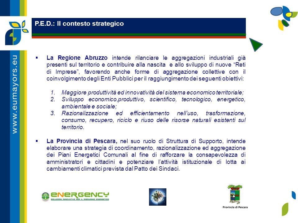 P.E.D.: Il contesto strategico  La Regione Abruzzo intende rilanciare le aggregazioni industriali già presenti sul territorio e contribuire alla nascita e allo sviluppo di nuove Reti di Imprese , favorendo anche forme di aggregazione collettive con il coinvolgimento degli Enti Pubblici per il raggiungimento dei seguenti obiettivi: 1.Maggiore produttività ed innovatività del sistema economico territoriale; 2.Sviluppo economico,produttivo, scientifico, tecnologico, energetico, ambientale e sociale; 3.Razionalizzazione ed efficientamento nell'uso, trasformazione, consumo, recupero, riciclo e riuso delle risorse naturali esistenti sul territorio.