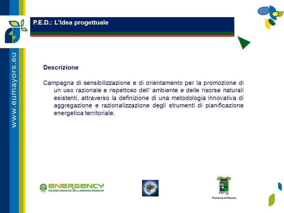 P.E.D.: L'Idea progettuale Descrizione Campagna di sensibilizzazione e di orientamento per la promozione di un uso razionale e rispettoso dell' ambiente e delle risorse naturali esistenti, attraverso la definizione di una metodologia innovativa di aggregazione e razionalizzazione degli strumenti di pianificazione energetica territoriale.