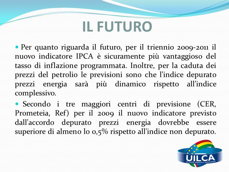 IL FUTURO Per quanto riguarda il futuro, per il triennio 2009-2011 il nuovo indicatore IPCA è sicuramente più vantaggioso del tasso di inflazione prog