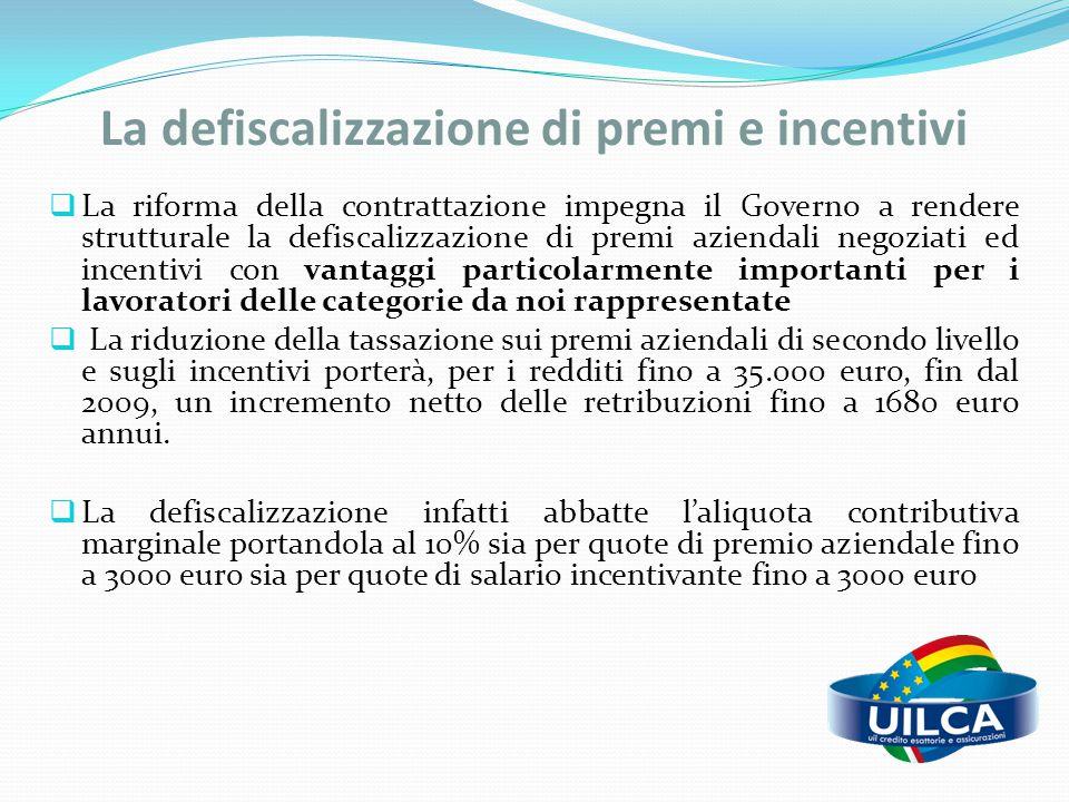 La defiscalizzazione di premi e incentivi  La riforma della contrattazione impegna il Governo a rendere strutturale la defiscalizzazione di premi azi