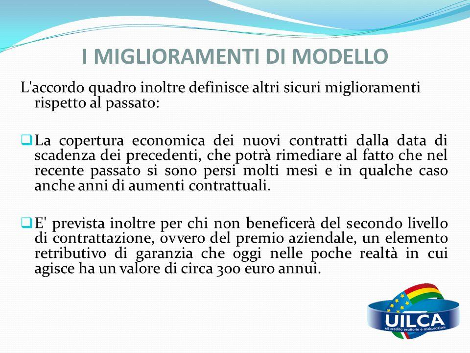 I MIGLIORAMENTI DI MODELLO L'accordo quadro inoltre definisce altri sicuri miglioramenti rispetto al passato:  La copertura economica dei nuovi contr