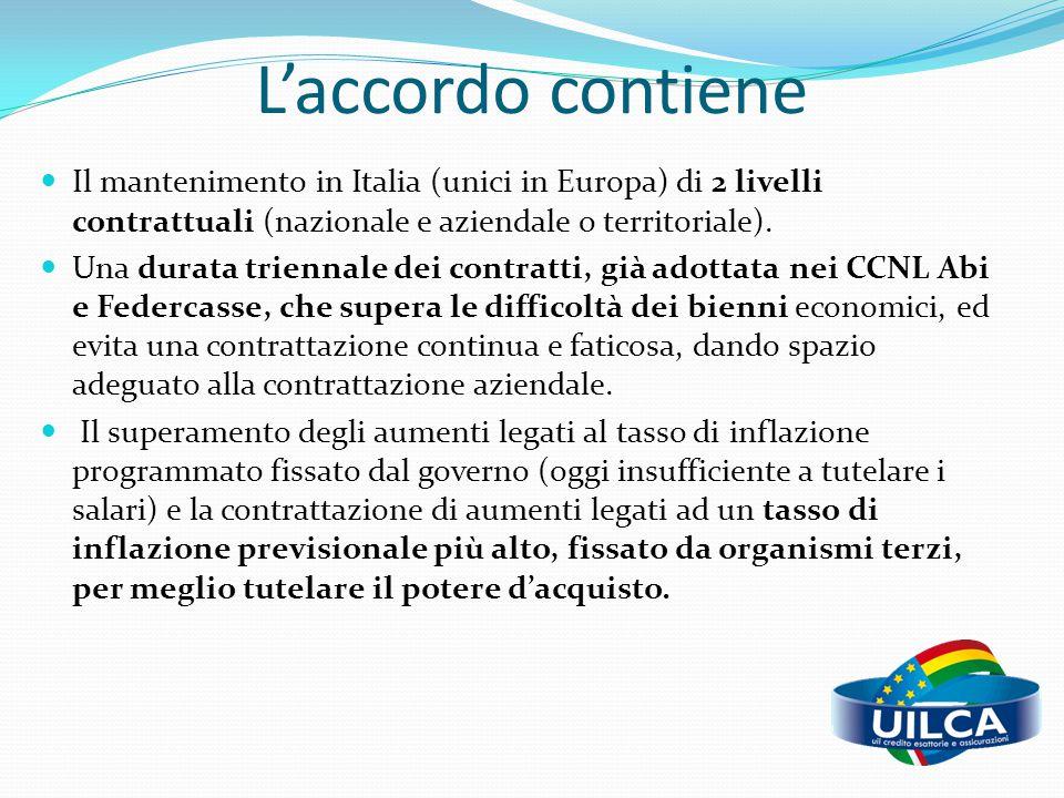 L'accordo contiene Il mantenimento in Italia (unici in Europa) di 2 livelli contrattuali (nazionale e aziendale o territoriale). Una durata triennale