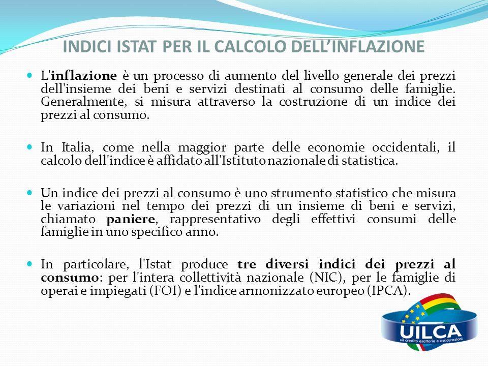 INDICI ISTAT PER IL CALCOLO DELL'INFLAZIONE L'inflazione è un processo di aumento del livello generale dei prezzi dell'insieme dei beni e servizi dest
