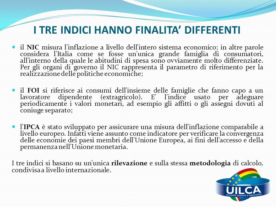 I TRE INDICI HANNO FINALITA' DIFFERENTI il NIC misura l'inflazione a livello dell'intero sistema economico; in altre parole considera l'Italia come se