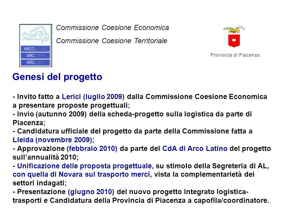 Genesi del progetto - Invito fatto a Lerici (luglio 2009) dalla Commissione Coesione Economica a presentare proposte progettuali; - Invio (autunno 200