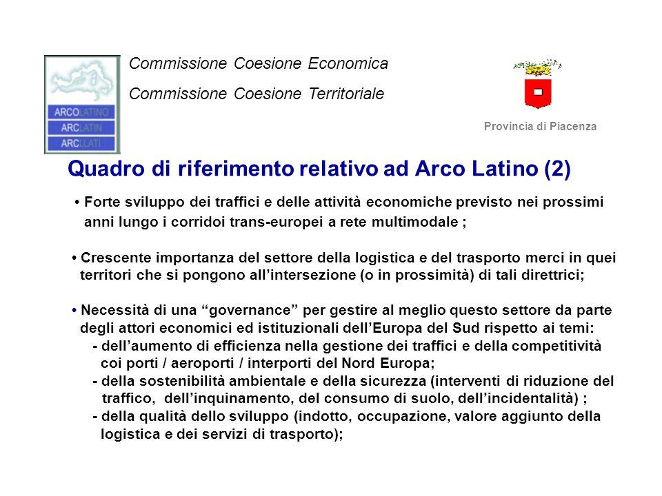Quadro di riferimento relativo ad Arco Latino (2) Forte sviluppo dei traffici e delle attività economiche previsto nei prossimi anni lungo i corridoi