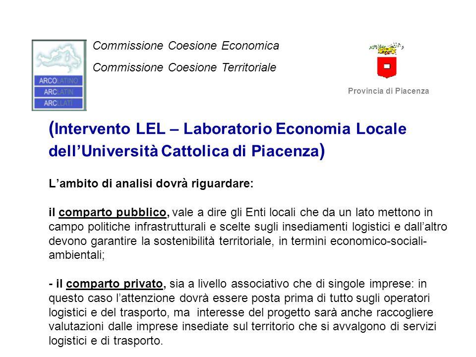 ( Intervento LEL – Laboratorio Economia Locale dell'Università Cattolica di Piacenza ) L'ambito di analisi dovrà riguardare: il comparto pubblico, val