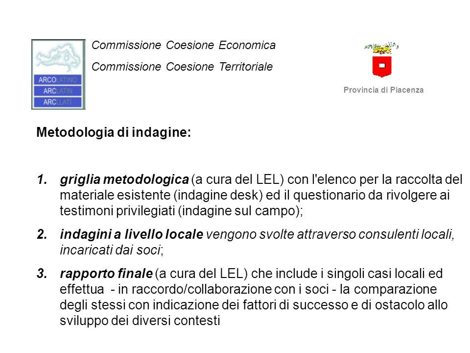 Commissione Coesione Economica Commissione Coesione Territoriale Provincia di Piacenza Metodologia di indagine: 1.griglia metodologica (a cura del LEL