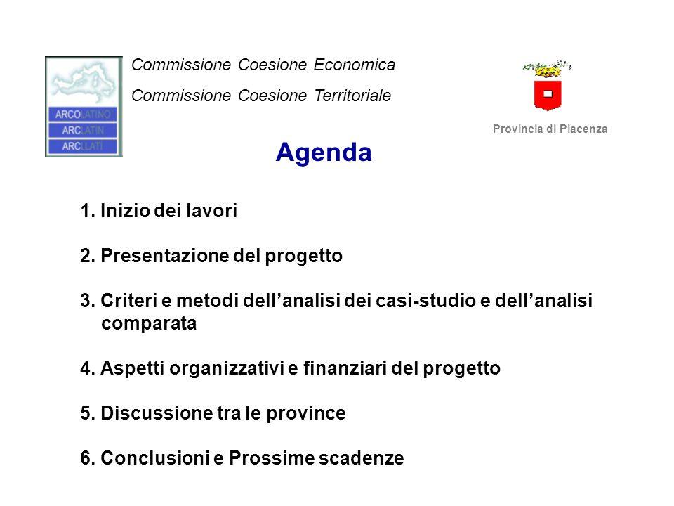 Manifestazioni di interesse per il progetto (1) SOCI POTENZIALI PARTECIPANTI (che hanno a suo tempo manifestato interesse attraverso contatti con la Provincia di Piacenza o la Provincia di Novara): 1) DIPUTACIO DE LLEIDA (SPAGNA) 2) DIPUTACIO DE TARRAGONA (SPAGNA) 3) CONSEIL GENERAL DES BOUCHES DU RHONE (Marsiglia) (FRANCIA) 4) PROVINCIA DI NOVARA (ITALIA) (ex leader progetto trasporti) 5) PROVINCIA DI LA SPEZIA (ITALIA) 6) PROVINCIA DI ORISTANO (ITALIA) Commissione Coesione Economica Commissione Coesione Territoriale Provincia di Piacenza