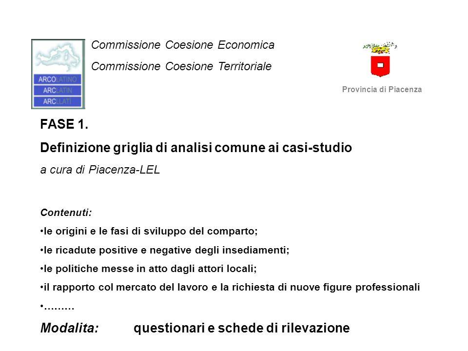 Commissione Coesione Economica Commissione Coesione Territoriale Provincia di Piacenza FASE 1. Definizione griglia di analisi comune ai casi-studio a