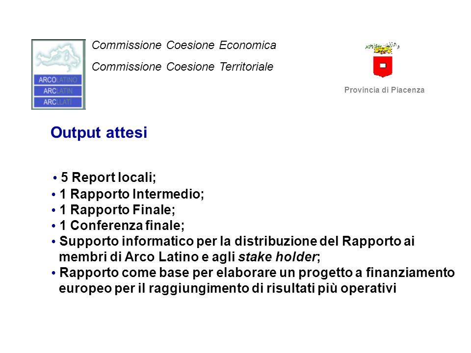 Output attesi 5 Report locali; 1 Rapporto Intermedio; 1 Rapporto Finale; 1 Conferenza finale; Supporto informatico per la distribuzione del Rapporto a