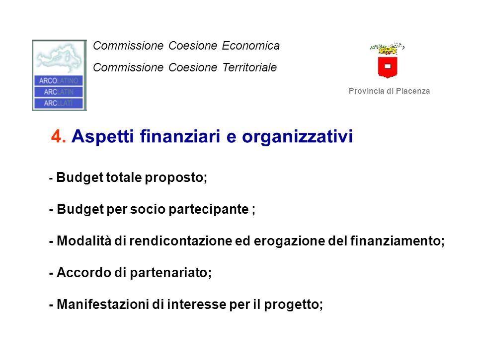 4. Aspetti finanziari e organizzativi - Budget totale proposto; - Budget per socio partecipante ; - Modalità di rendicontazione ed erogazione del fina