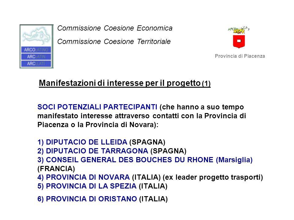 Manifestazioni di interesse per il progetto (1) SOCI POTENZIALI PARTECIPANTI (che hanno a suo tempo manifestato interesse attraverso contatti con la P