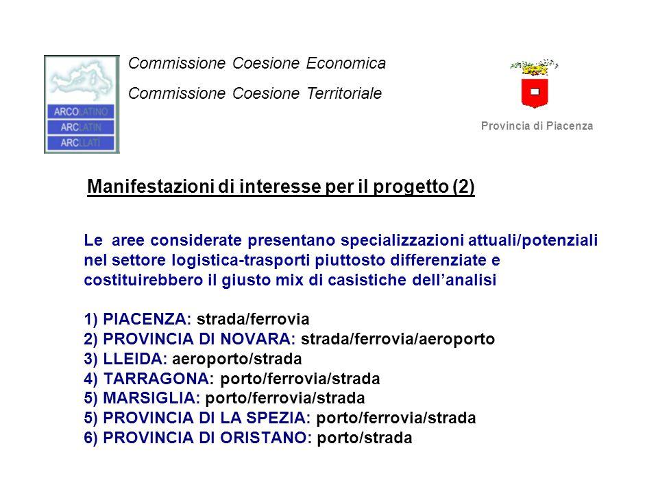 Manifestazioni di interesse per il progetto (2) Le aree considerate presentano specializzazioni attuali/potenziali nel settore logistica-trasporti piu