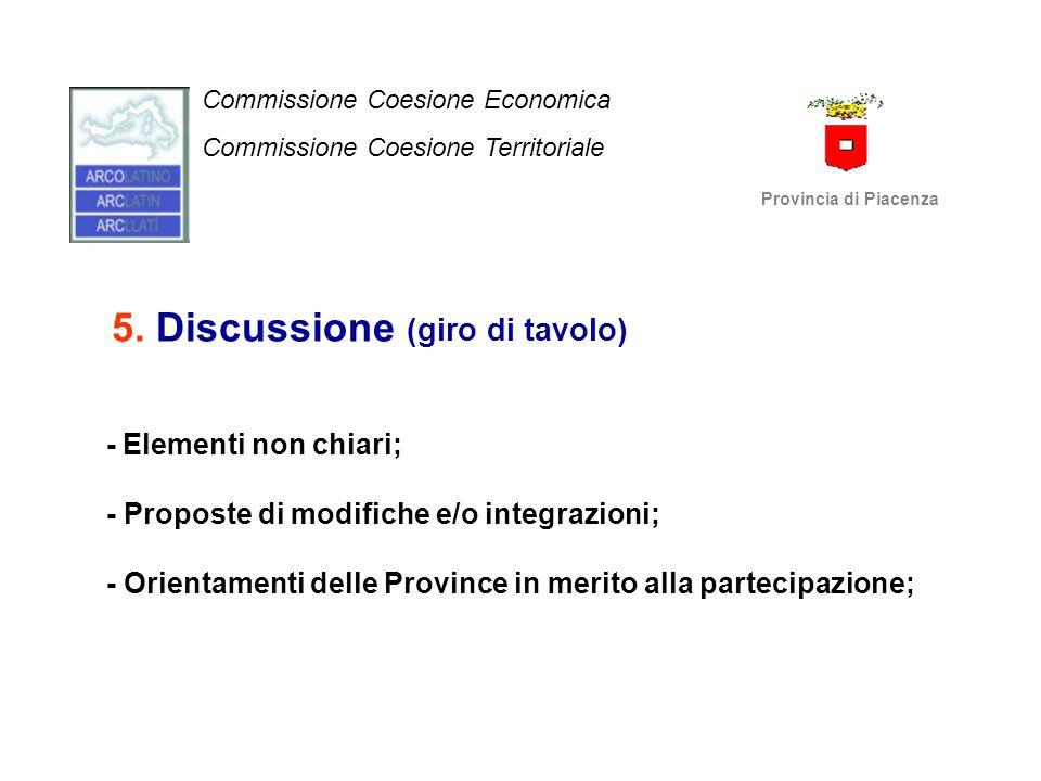 5. Discussione (giro di tavolo) - Elementi non chiari; - Proposte di modifiche e/o integrazioni; - Orientamenti delle Province in merito alla partecip