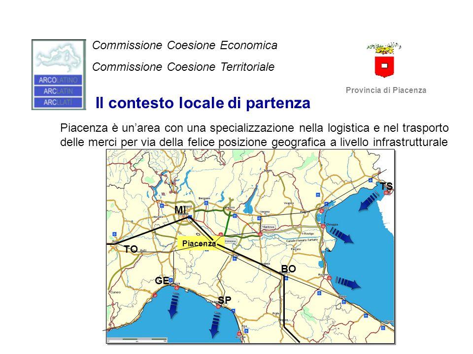 Coerenza del progetto con il programma di lavoro delle due Commissioni Tematiche; con gli Orientamenti strategici di Arco Latino; con le priorità dell'Unione Europea; con le priorità dell'Agenda del Mediterraneo Commissione Coesione Economica Commissione Coesione Territoriale Provincia di Piacenza