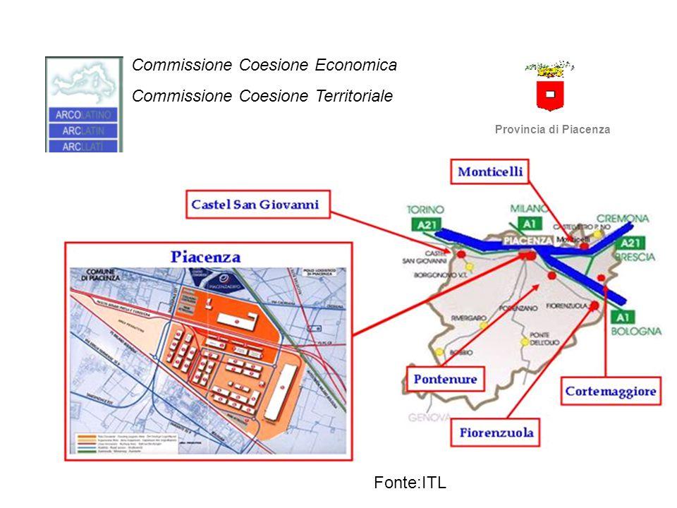 Commissione Coesione Economica Commissione Coesione Territoriale Provincia di Piacenza Fonte: PRIT 2010-2020 Regione Emilia-Romagna Piacenza Piacenza è riconosciuta dalla Regione come uno dei principali nodi intermodali strada/ferrovia dell'Emilia-Romagna