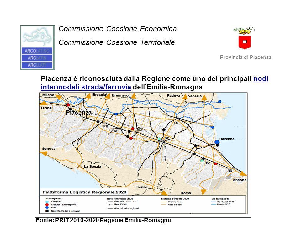 Commissione Coesione Economica Commissione Coesione Territoriale Provincia di Piacenza Fonte: PRIT 2010-2020 Regione Emilia-Romagna Piacenza Piacenza
