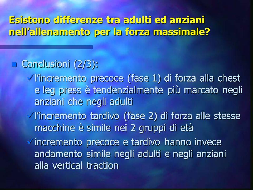 Esistono differenze tra adulti ed anziani nell'allenamento per la forza massimale? n Conclusioni (2/3): l'incremento precoce (fase 1) di forza alla ch