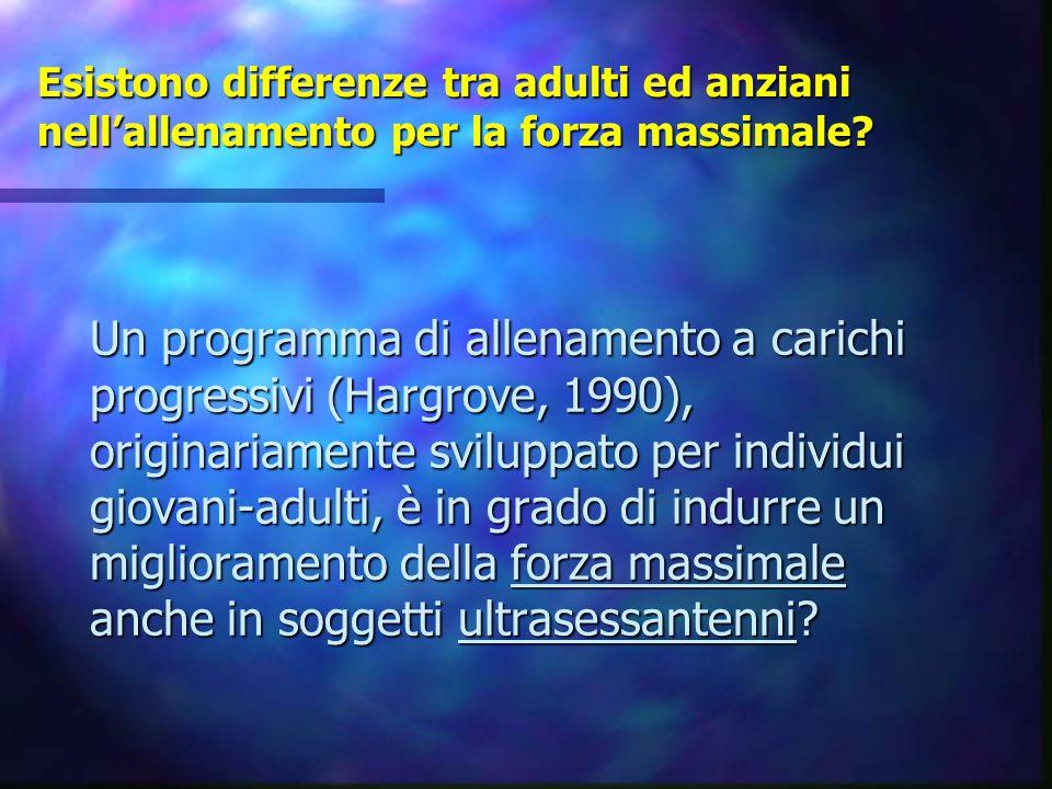 Esistono differenze tra adulti ed anziani nell'allenamento per la forza massimale? Un programma di allenamento a carichi progressivi (Hargrove, 1990),