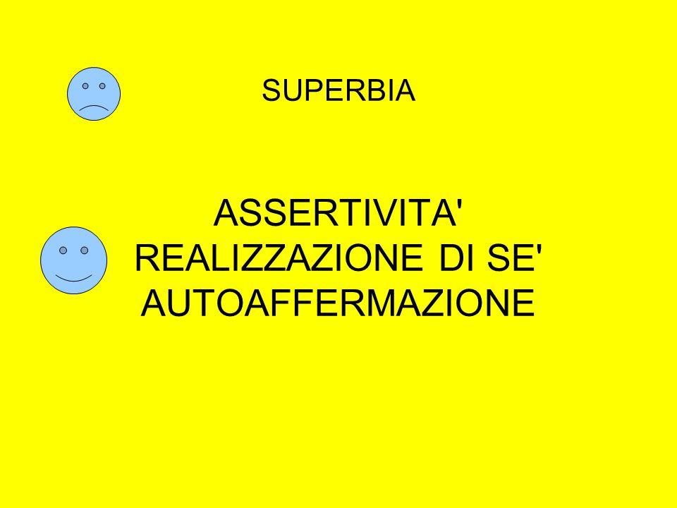SUPERBIA ASSERTIVITA REALIZZAZIONE DI SE AUTOAFFERMAZIONE