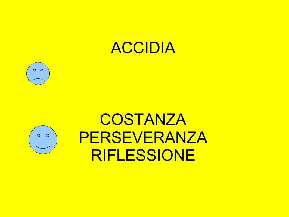 ACCIDIA COSTANZA PERSEVERANZA RIFLESSIONE