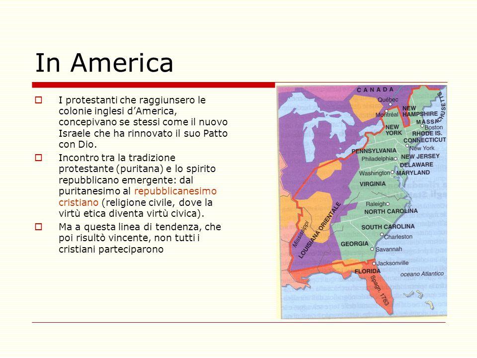 In America  I protestanti che raggiunsero le colonie inglesi d'America, concepivano se stessi come il nuovo Israele che ha rinnovato il suo Patto con