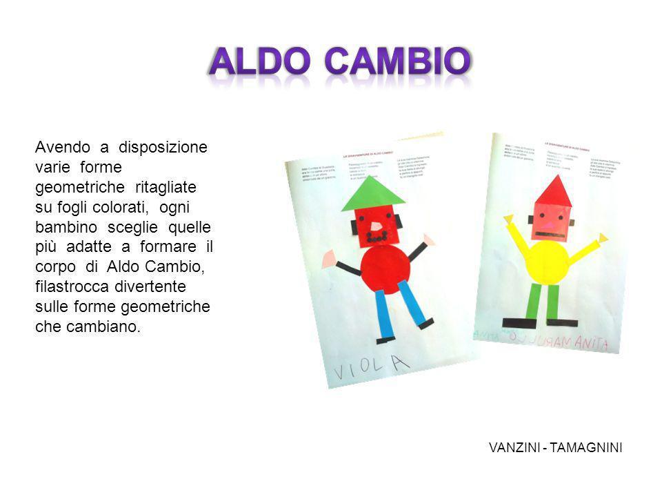 Avendo a disposizione varie forme geometriche ritagliate su fogli colorati, ogni bambino sceglie quelle più adatte a formare il corpo di Aldo Cambio,