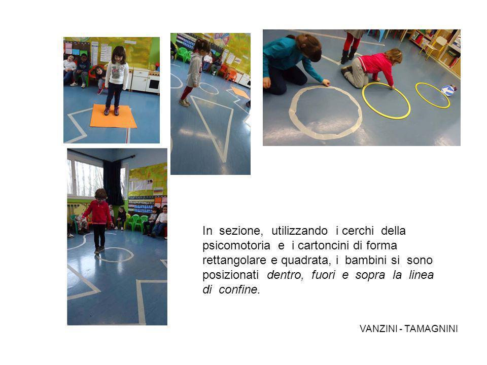 In sezione, utilizzando i cerchi della psicomotoria e i cartoncini di forma rettangolare e quadrata, i bambini si sono posizionati dentro, fuori e sop