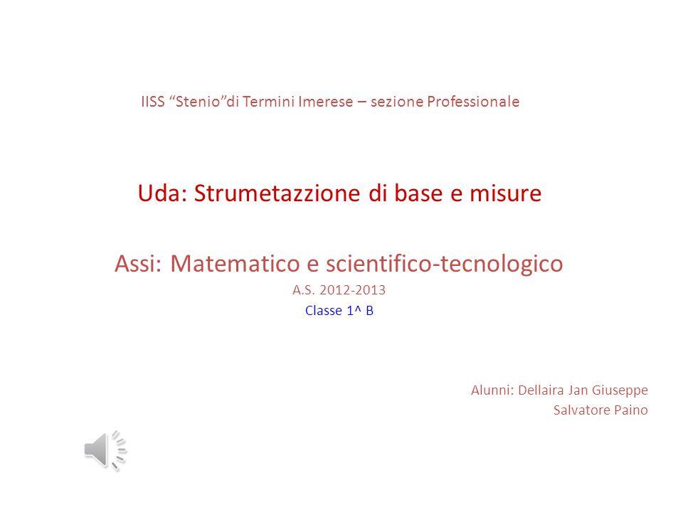 """IISS """"Stenio""""di Termini Imerese – sezione Professionale Uda: Strumetazzione di base e misure Assi: Matematico e scientifico-tecnologico A.S. 2012-2013"""
