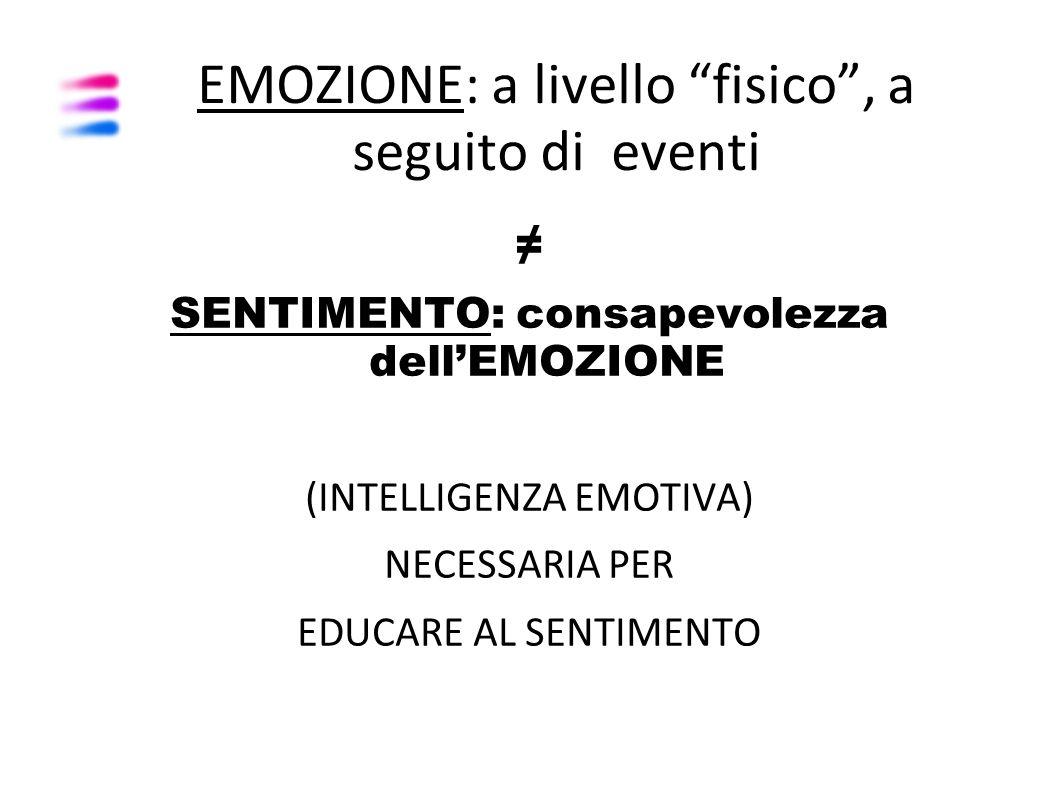 """EMOZIONE: a livello """"fisico"""", a seguito di eventi ≠ SENTIMENTO: consapevolezza dell'EMOZIONE (INTELLIGENZA EMOTIVA) NECESSARIA PER EDUCARE AL SENTIMEN"""