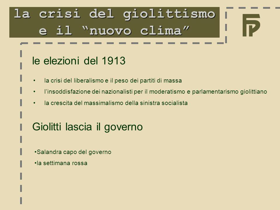 """la crisi del giolittismo e il """"nuovo clima"""" le elezioni del 1913 Salandra capo del governo la settimana rossa Giolitti lascia il governo la crisi del"""