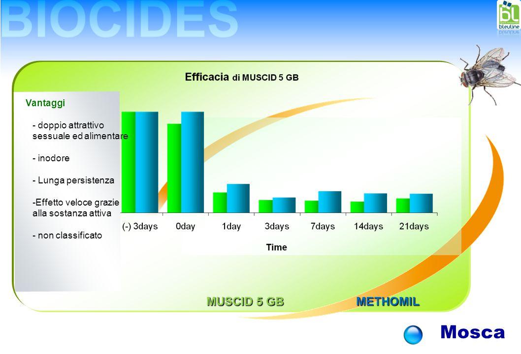 Mosca Vantaggi - doppio attrattivo sessuale ed alimentare - inodore - Lunga persistenza -Effetto veloce grazie alla sostanza attiva - non classificato MUSCID 5 GB METHOMIL