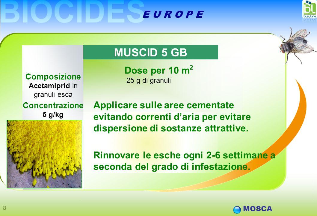 8 E U R O P E Composizione Acetamiprid in granuli esca Concentrazione 5 g/kg MOSCA Dose per 10 m 2 25 g di granuli MUSCID 5 GB Applicare sulle aree cementate evitando correnti d'aria per evitare dispersione di sostanze attrattive.