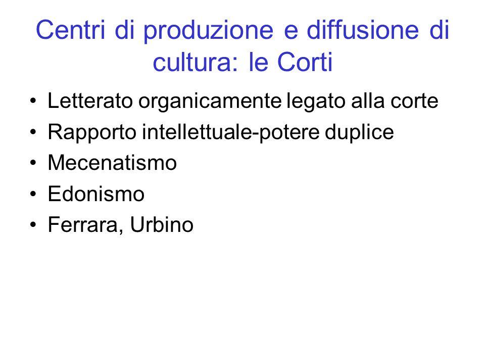 Centri di produzione e diffusione di cultura: le Corti Letterato organicamente legato alla corte Rapporto intellettuale-potere duplice Mecenatismo Edonismo Ferrara, Urbino